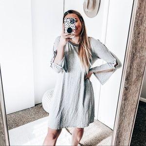 MSK grey pearl knee length dress